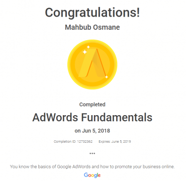 AdWords Fundamentals Certificate of Mahbub Osmane