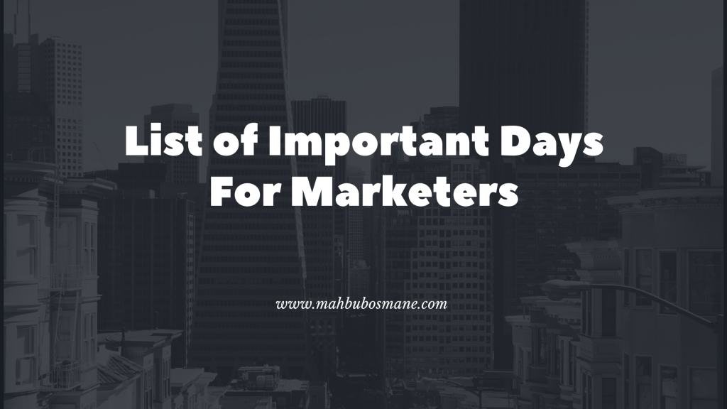 List of Important Days For Marketers