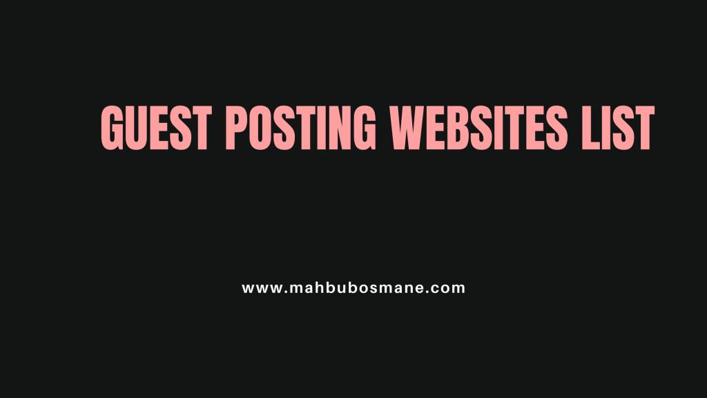 Guest Posting Website List